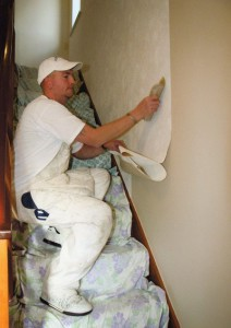 Wallpapering on staircases